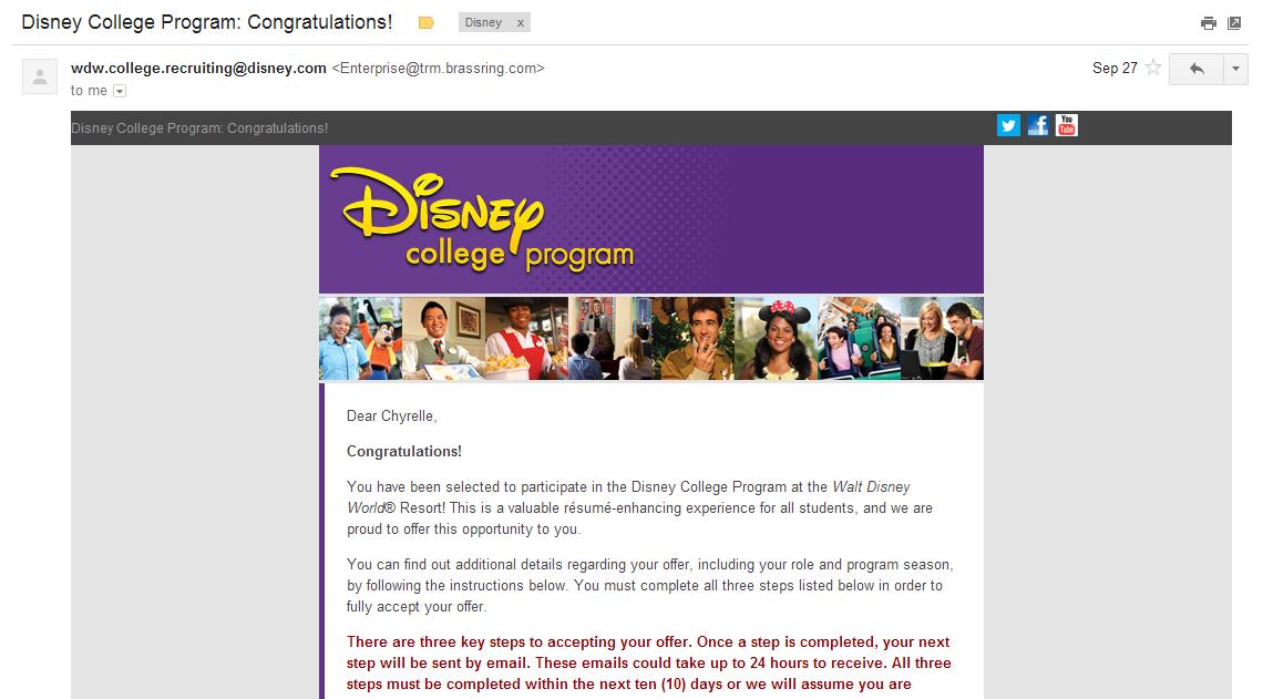 disney college program  congratulations