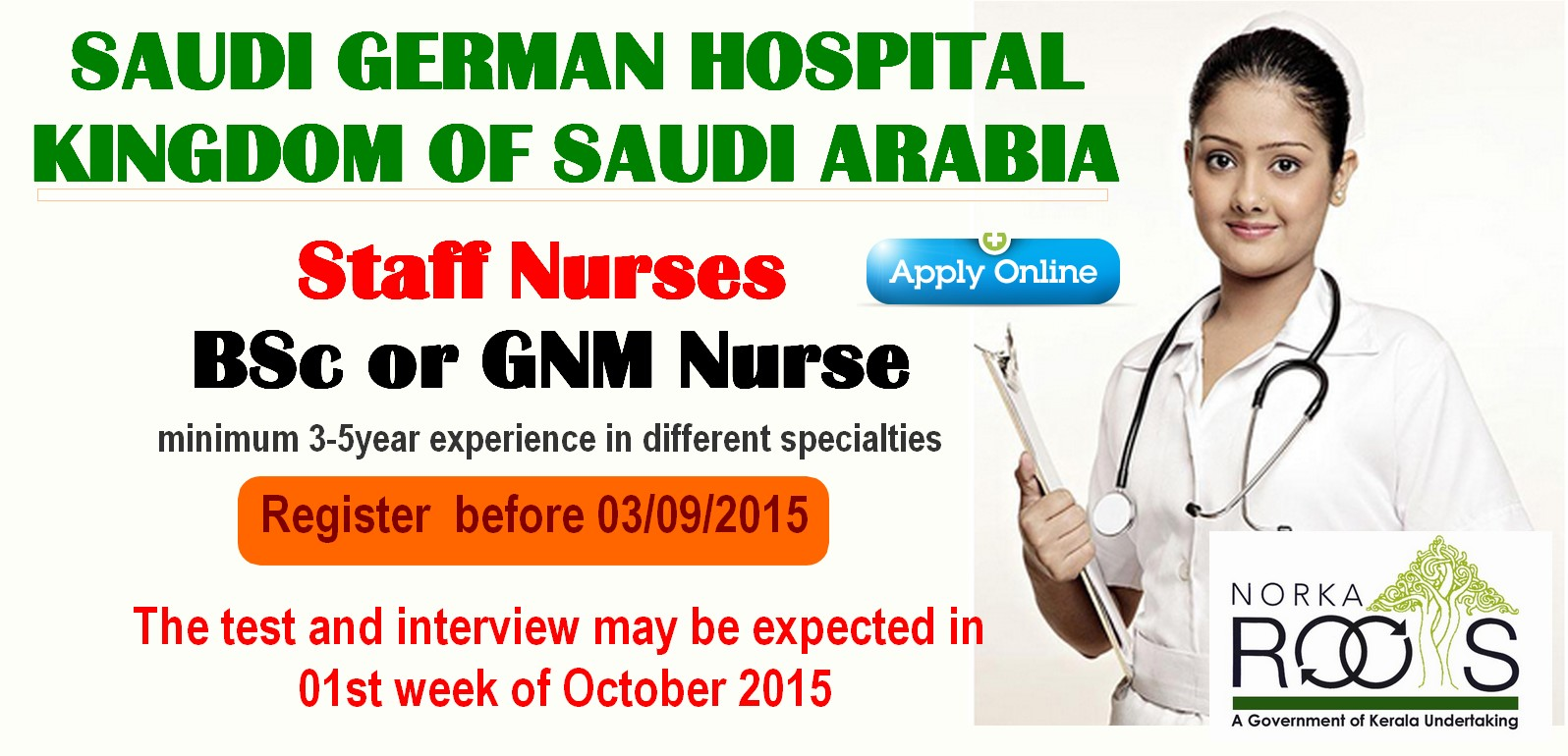 nursesvacancy com norka roots conducts recruitment of nurses for staff nurses bsc or gnm nurse minimum 3 5year experience in different specialties the candidate should be fluent in english age 25 to 35 years old