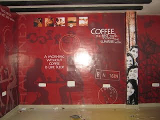 Commercial Interior Wall Graphic For Coffee Cafe