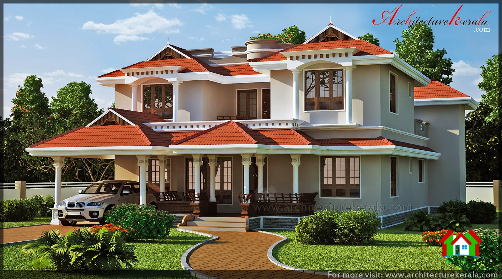 Traditional kerala house elevation architecture kerala for Elevation of kerala homes