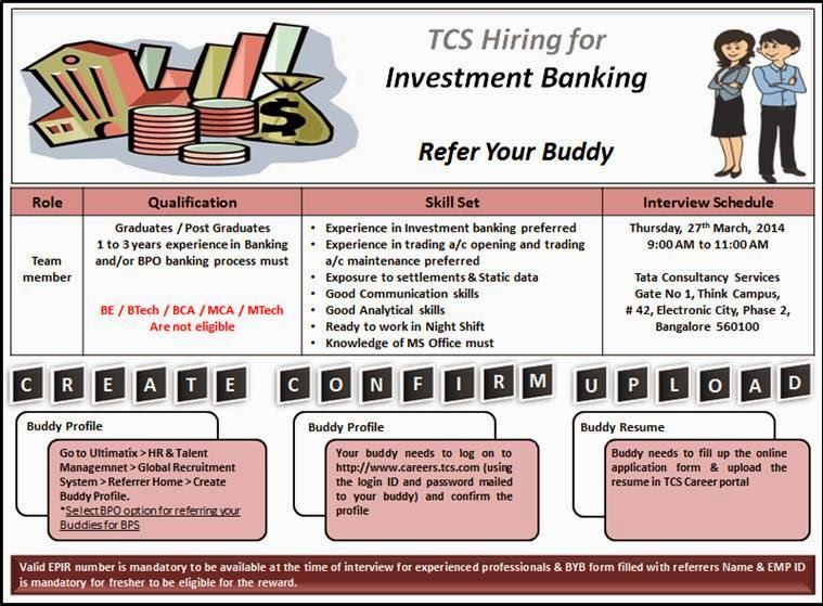 help fwd tcs thursday drive for investment banking job location