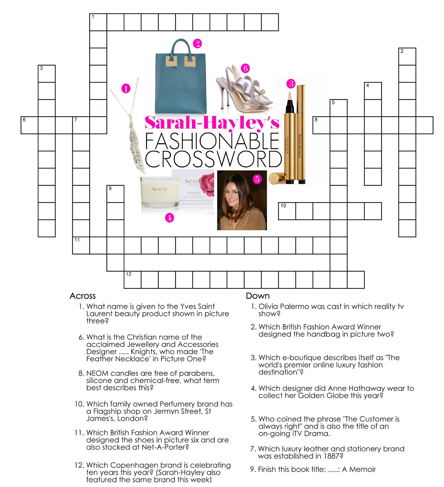 Something For The Weekend A Fashionable Crossword By Sarah Hayley Owen