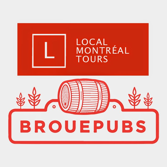 Logos for local montreal tours and brew pub tour