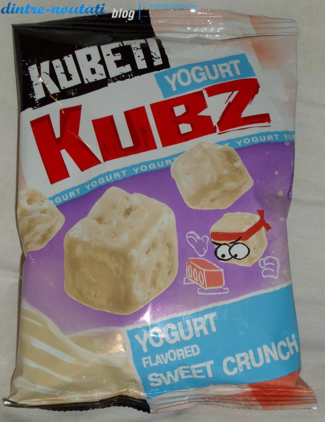 KUBETI YOGURT KUBZ FLAVORED SWEET CRUNCH - Cuburi din pâine de grâu și secară coapte cu glazură cu aromă de iaurt