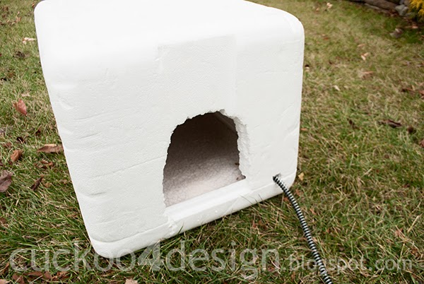 insulated box for stray cats with heated pad inside