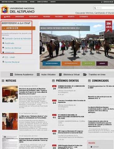 Resultados prueba ingreso UNAP 2012 II Ingresantes 30 de Setiembre