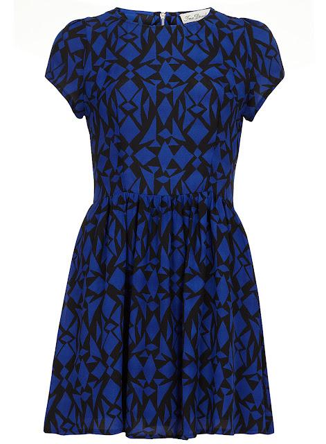 blue print tee dress