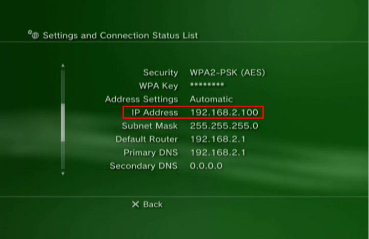 Setting an IP Address on the PS3