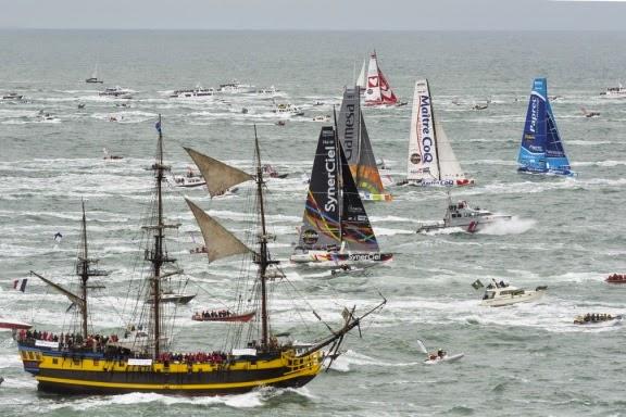 Plus de 20 bateaux attendus sur le Vendée Globe 2016 ! (ici départ 2012)