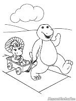 Mewarnai Barney Si Dinosaurus Lucu