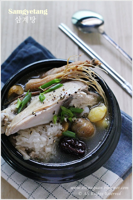 Samgyetang - Ginseng Chicken Soup with Rice and Chestnut Stuffings 2 | Korean Recipes
