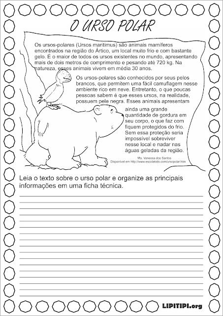 Atividade Texto Informativo Urso Polar