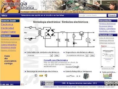 """Página de inicio de """"www.smbologia-electronica.com"""""""