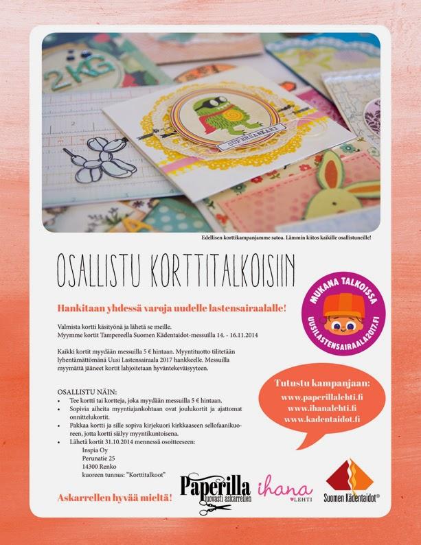 Korttitalkoot Uuden lastensairaalan hyväksi, osallistu 31.10.14 mennessä :)