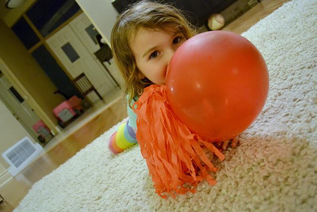 Kayla with her DIY crepe paper pom pom #KettleMadness #cbias