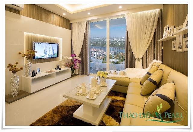 Phòng khách tại căn hộ Thảo Điền Pearl Quận 2