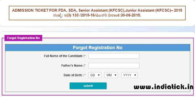 Karnataka PSC Admit Card 2015 without register number