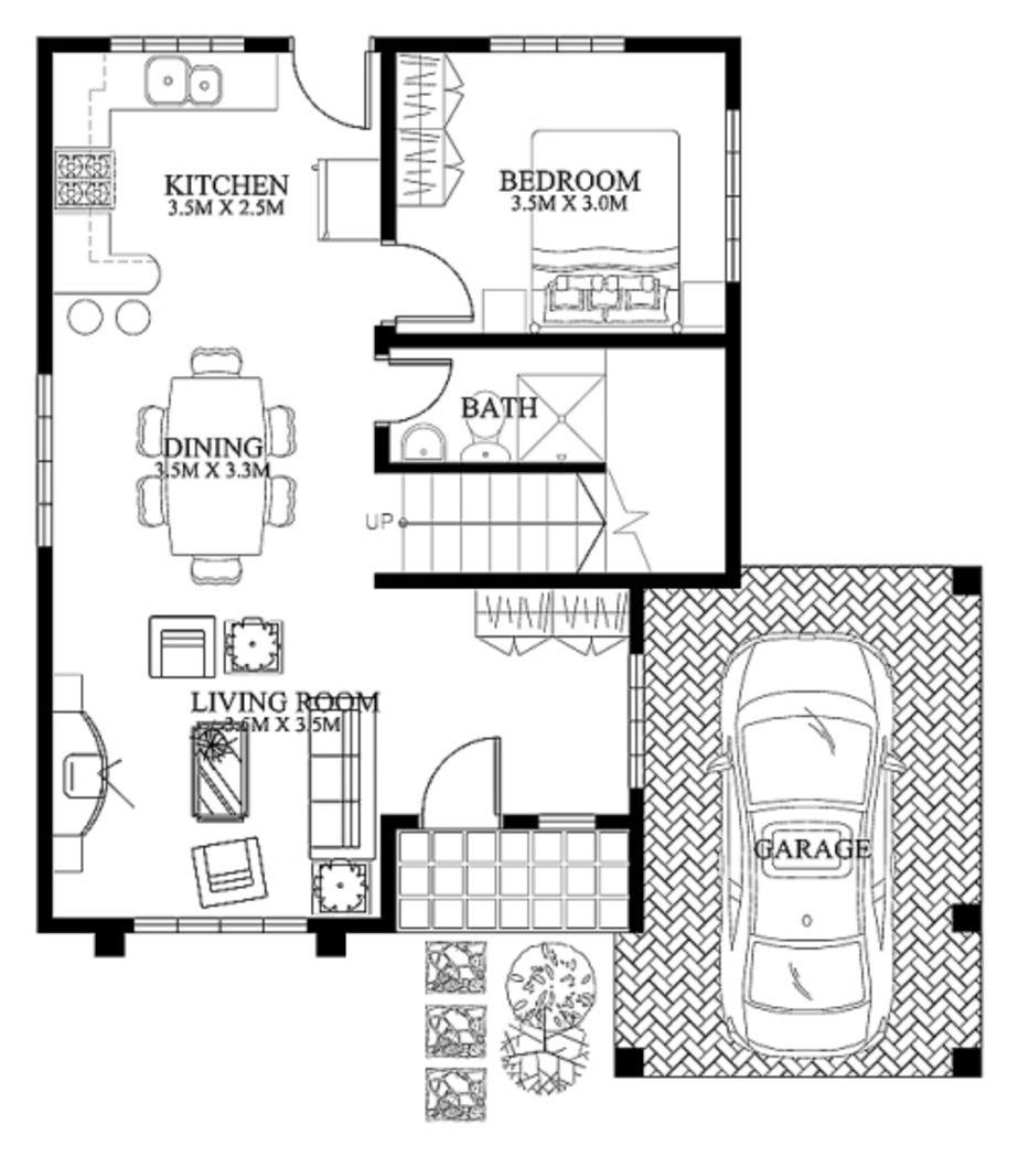 desain denah rumah bertingkat lt 1 yang menarik