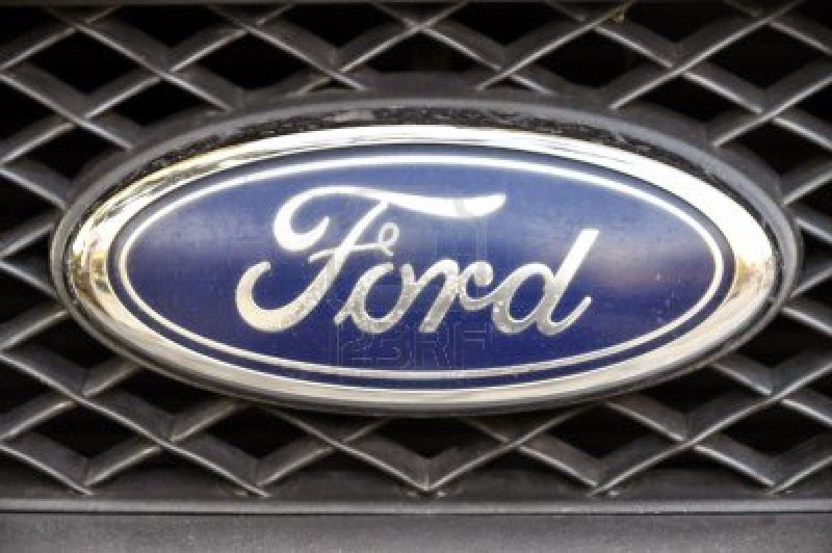 close up ford logo chrome metal