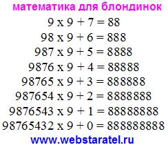 Интересная математика. Умножение и сложение дают разное количество восьмерок. Занимательная математика. Математика для блондинок.