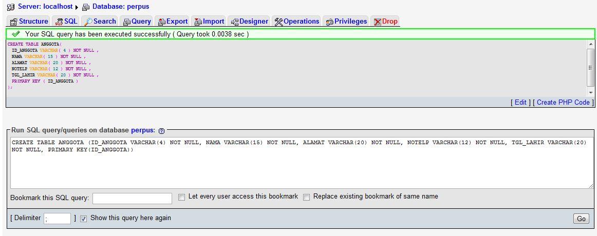 """Membuat Tabel Database """"perpus"""" di XAMPP. - """" THIS IS MY"""