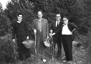 Los ajedrecista Ribera, Cherta y Josep Pujol cogiendo setas