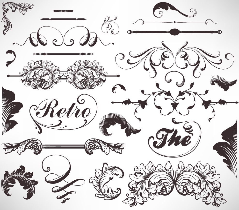 Line Art Designs Free Download : Free vector がらくた素材庫 植物柄のヴィンテージ フレーム・ボーダー vintage floral