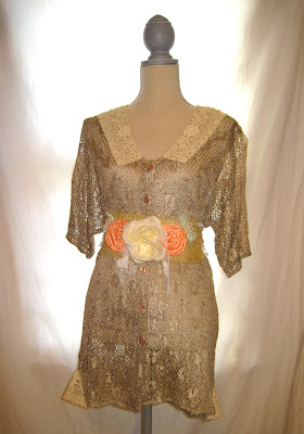 Antique Gold Color, Romantic Shabby Chic  Pleasant Feel Women's Tunic, 100% Rayon