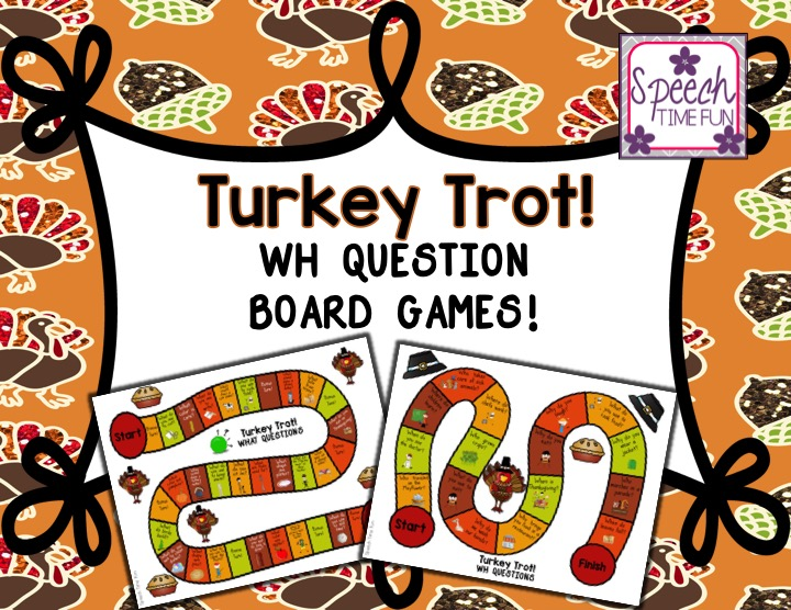 Turkey Trot Thanksgiving Wh Question Board Games