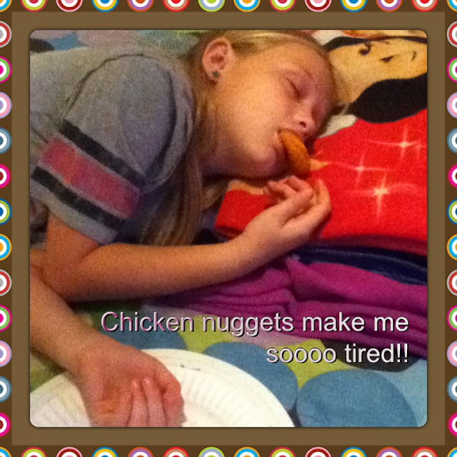Fell asleep eating chicken nugget