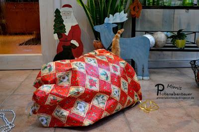Katze Mimi versteckt sich unter einem Geschenkpapier