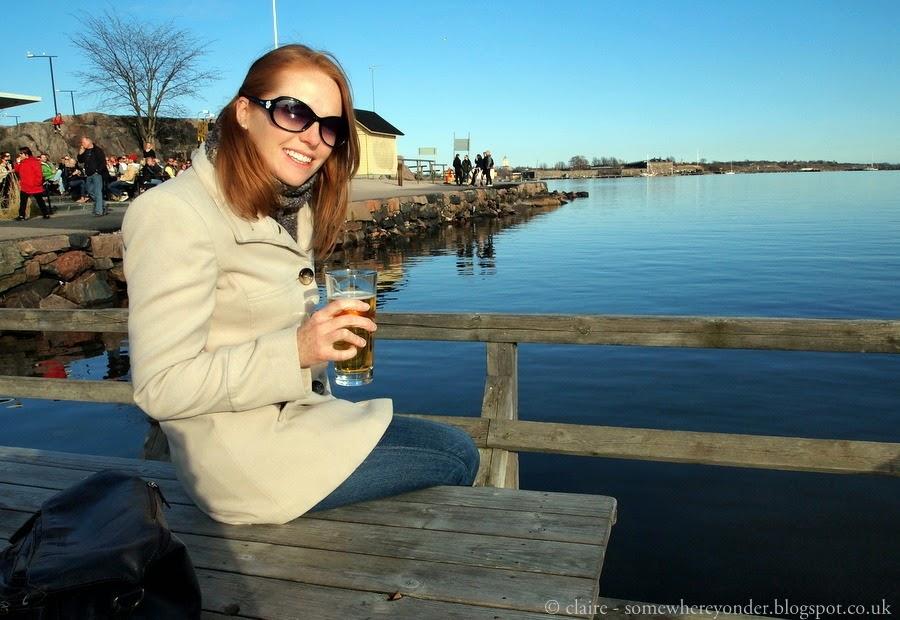 Enjoying a beer - Helsinki water front