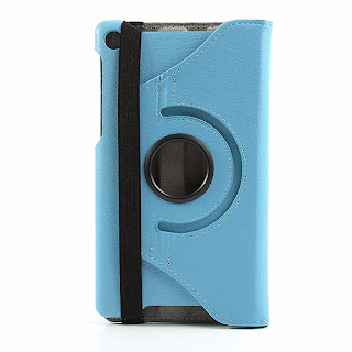 360 Degree Rotary Stand Leather Case Cover for Asus Google Nexus 7(2013) II 2nd Generation - Blue