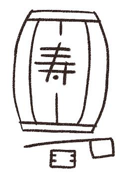 鏡開きの樽・柄杓・升のイラスト(お正月) 線画