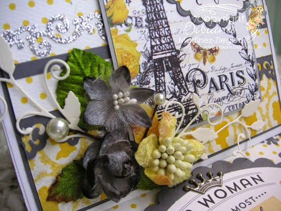 detail flowers easel card with petaloo and authentique papers