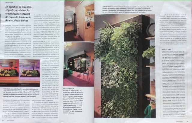 Jardín vertical de interior en una cocina