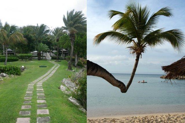 Camino hacia habitaciones y playa en el complejo hotelero Blue Waters en Antigua