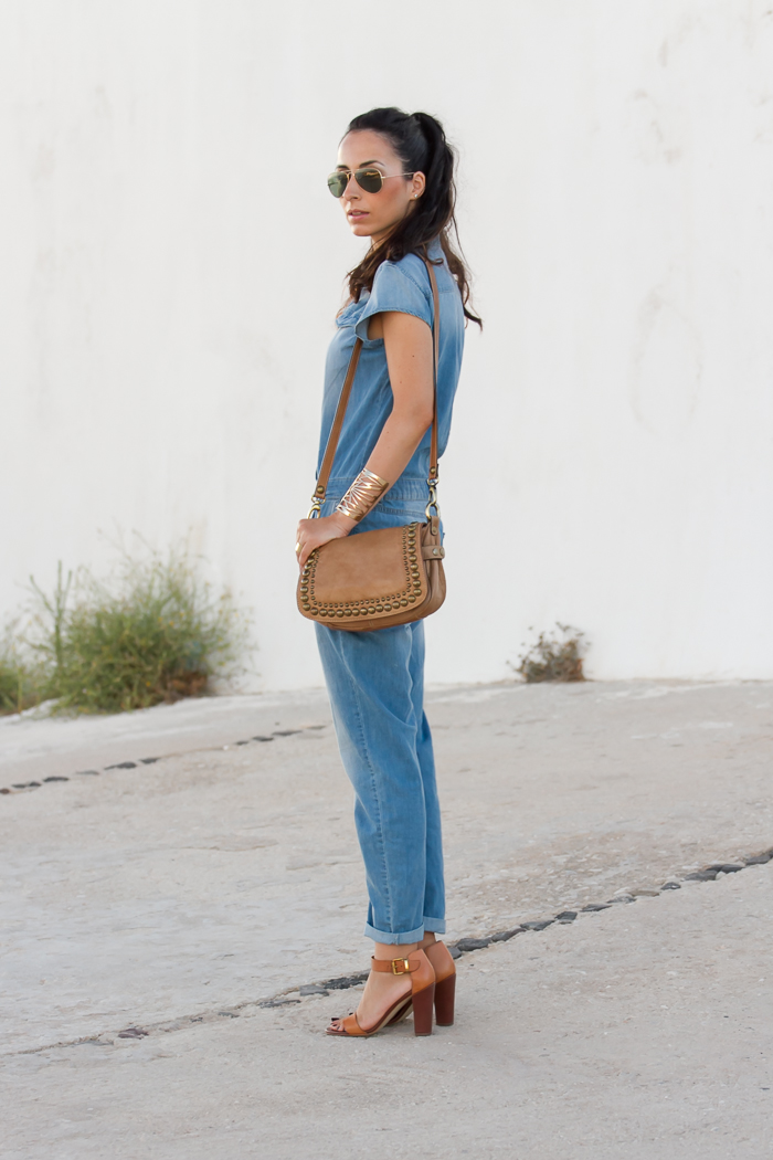 zara denim jumpsuit combiined with camel color