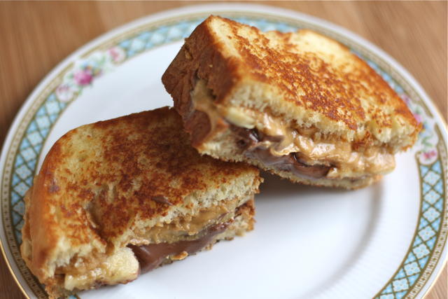 Toasted Peanut Butter + Nutella + Banana Sandwich