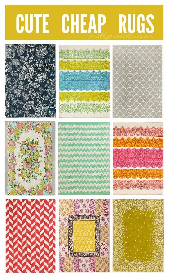rugs that are cute and cheap enough for a small budget! all less than $100! at www.prettyprovidence.com