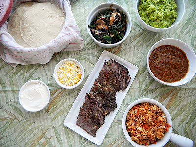 wild mushroom, flank steak, and poblano tacos