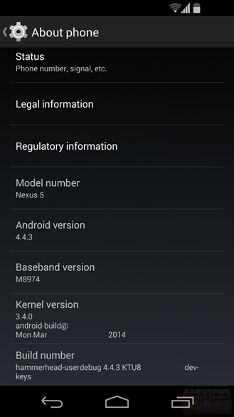 Android 4.4.3 spotted on Nexus 5, will bring only bug fixes