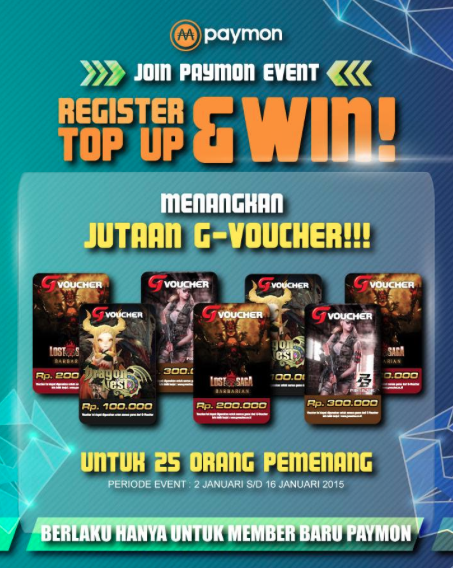 Mau Jutaan G-Voucher Gratis? Ikuti Event Paymon (Event Register, Top Up dan Win)