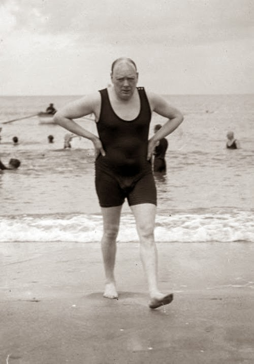 Winston Churchill In A Swimsuit 1922 Vintage Everyday