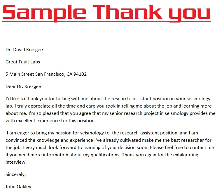 Sample Thank You Letter Format Thanks Card Sample Thank You Note – Thank You Note Sample