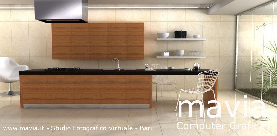 Rendering Interni 3d Bari - cucina moderna pavimento marmo,immagine di ...