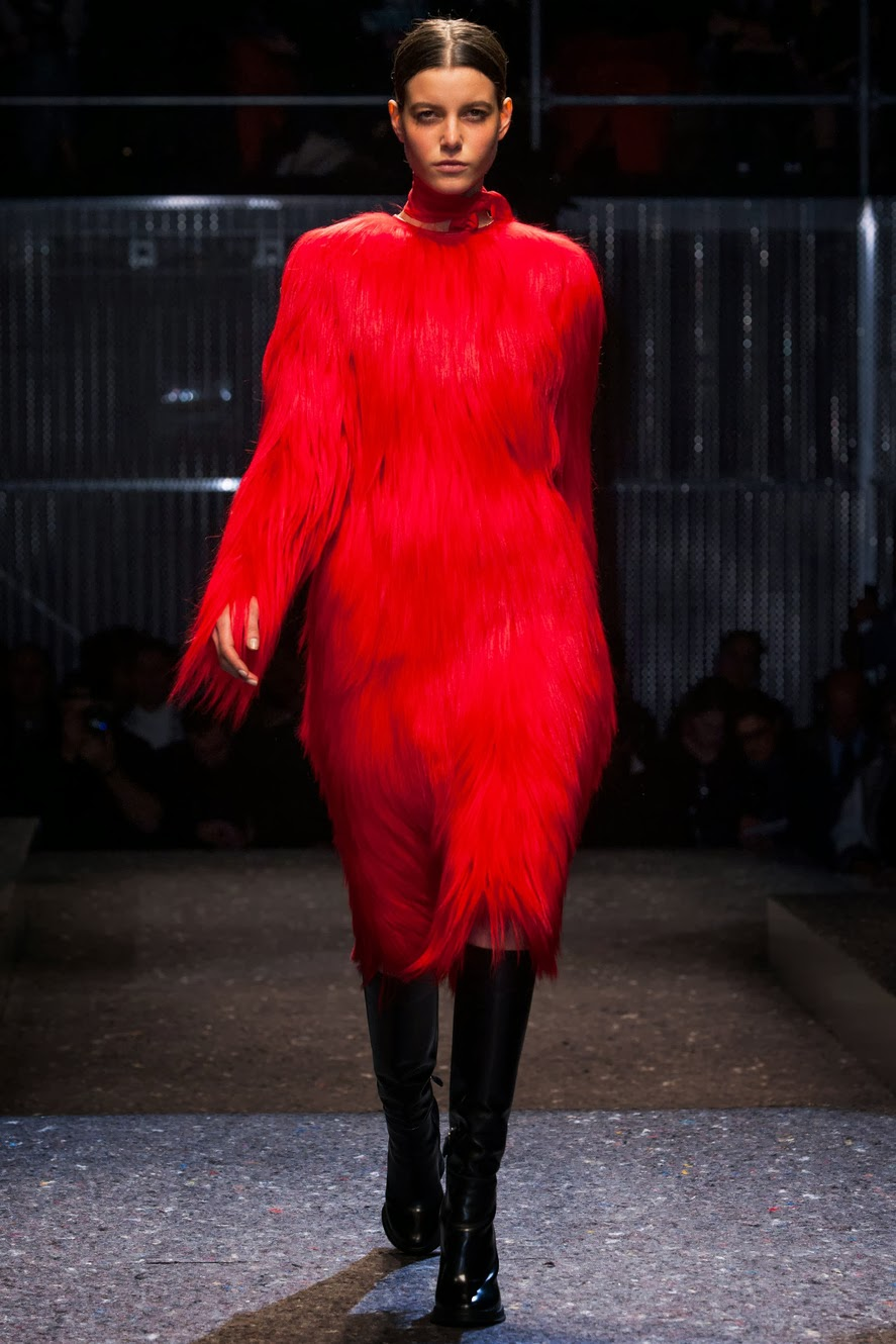 Prada FW2014 RTW on thewellset.com - red Big Bird!