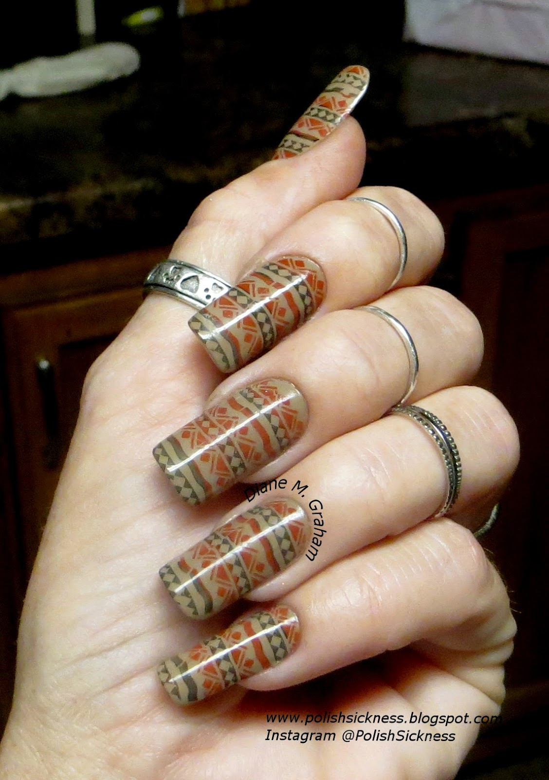 Essie Case Study, Square Hue Iron Horse, Square Hue Scorched Summer, DRK-D tribal stamp