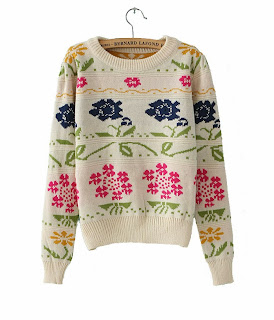 http://www.aupie.com/ladies-new-arrivals-roses-print-beige-puff-sleeves-round-neck-sweater.html