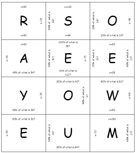 Mrs white s 6th grade math blog percent problems matching puzzle